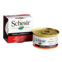 Schesir Корм влажный для кошек тунец с креветками