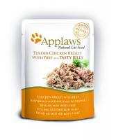 "Applaws паучи для кошек ""Кусочки курицы и говядины в желе"", cat pouch chicken with beef in jelly"