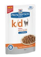 Hills K/D with Salmon K/D Влажный корм Паучи для кошек д/почек (с лососем)