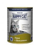 Happy Cat Консервы Кусочки в желе для кошек с уткой и курицей, банка