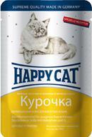 Happy Cat Консервы для кошек нежные кусочки в соусе курочка ломтики (пауч)