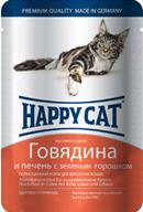 Happy Cat Консервы  для кошек нежные кусочки в желе говядина и печень с зеленым горошком (пауч)