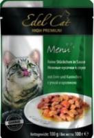 Edel Cat Консервы для кошек кусочки утка, кролик (пауч)