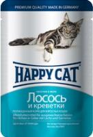 Happy Cat Консервы  для кошек нежные кусочки в желе лосось и креветки (пауч)