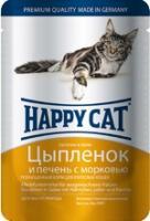 Happy Cat Консервы  для кошек нежные кусочки в желе цыпленок и печень (пауч)