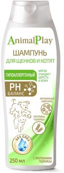 Animal Play Энимал Плэй Шампунь для щенков и котят гипоаллергенный с протеинами пшеницы и витаминами