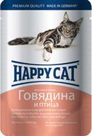 Happy Cat нежные кусочки в соусе говядина и птица (пауч)