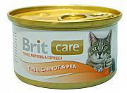 Brit Консервы для кошек с тунцом, морковью, горошком (BRIT CARE TUNA, CARROT & PEA)