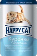 Happy Cat для котят нежные кусочки в соусе курочка с морковью (пауч)