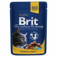 BRIT PREMIUM Брит Премиум Паучи для взрослых кошек с курицей, индейкой