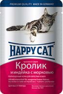 Happy Cat Консервы для кошек нежные кусочки в соусе Кролик Индейка с морковью (пауч)