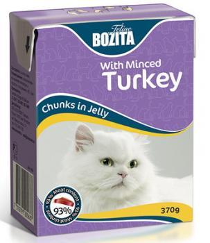 BOZITA Feline Minced Turkey, Корм влажный мясные кусочки в желе с Рубленой Индейкой для кошек и котят
