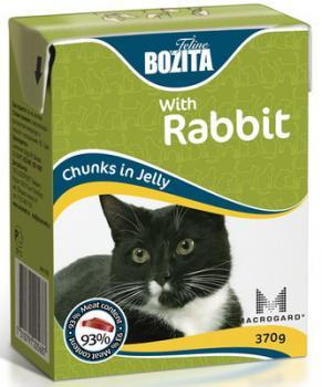 BOZITA Feline Rabbit, Корм влажный мясные кусочки в желе с Кроликом для кошек и котят