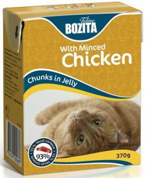 BOZITA Feline Minced Chicken, Корм влажный мясные кусочки в желе с Рубленой Курицей для кошек и котят