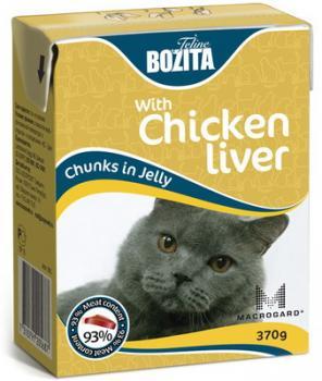 BOZITA Feline Chicken liver, Корм влажный мясные кусочки в желе с Куриной Печенью для кошек и котят