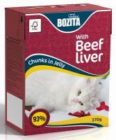 BOZITA Feline Beef Liver, Корм влажный мясные кусочки в желе с Говяжьей Печенью для кошек и котят