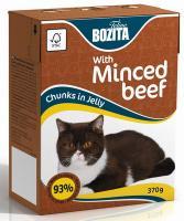 BOZITA Feline Beef, Корм влажный мясные кусочки в желе с Рубленой Говядиной для кошек и котят