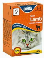 BOZITA MINI with Lamb, Корм влажный мясные кусочки в желе с Мясом Ягненка для кошек