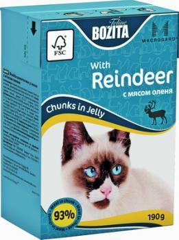 BOZITA MINI with Reeinder, Корм влажный мясные кусочки в желе с Мясом Оленя для кошек и котят