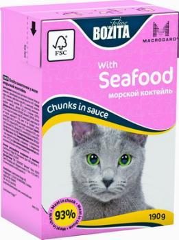 BOZITA MINI with Seafood, Корм влажный мясные кусочки в соусе Морской коктейль для кошек и котят