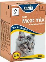 BOZITA MINI with Meat Mix, Корм влажный мясные кусочки в соусе Мясной коктейль для кошек и котят