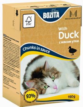BOZITA MINI with Duck, Корм влажный мясные кусочки в соусе C Мясом Утки для кошек и котят