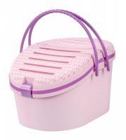 Корзина для переноски мелких животных пластик (цвет розовый)