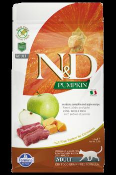 Farmina N&D Cat GF Pumpkin Venison Фармина. Оленина, тыква и яблоко. Полнорационный сухой корм для взрослых кошек