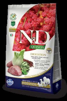 N&D Dog Quinoa Digestion Lamb. Фармина. Ягненок, киноа, фенхель, мята и артишок. Поддержка пищеварения. Полнорационный сухой корм для взрослых собак.