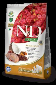 Farmina N&D Dog Quinoa Skin&coat Quail. Перепел, киноа, кокос и куркума. Здоровье кожи и шерсти. Полнорационный сухой корм для взрослых собак.